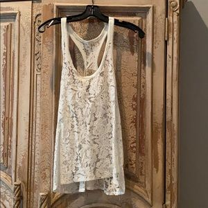New Chaser Off White Tank Top Lace sz Small